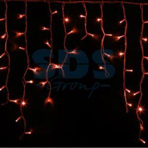 """255-282 Гирлянда Айсикл (бахрома) светодиодный, 5,6 х 0,9 м, белый провод """"КАУЧУК"""", 230 В, диоды красные, 240 LED"""