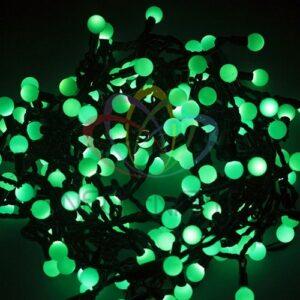 """303-524 Гирлянда """"Мультишарики"""" Ø17, 5мм, 20 м, черный ПВХ, 200 диодов, цвет зеленый, 24В"""