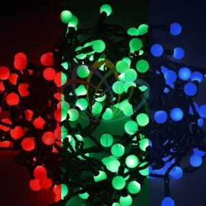 "303-539 Гирлянда ""Мультишарики"" Ø15мм 5м, темно-зеленый ПВХ, 30 диодов, цвет RGB"
