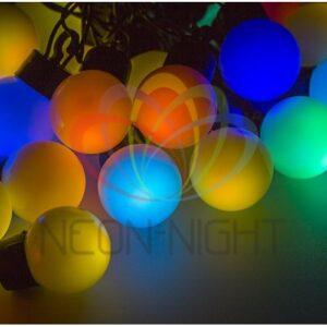 "303-559 Гирлянда ""Мультишарики"" Ø25мм 5м, темно-зеленый ПВХ, 25 диодов, цвет RGB"