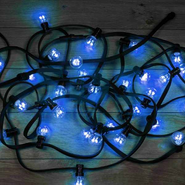 331-323 Гирлянда LED Galaxy Bulb String 10м, черный КАУЧУК, 30 ламп*6 LED СИНИЕ, влагостойкая IP65
