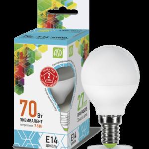 Лампа светодиодная LED-ШАР-standard 5Вт 220В Е14 450Лм