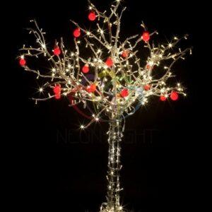 """531-401 Светодиодное дерево """"Яблоня"""", высота 1. 2м, 8 красных яблок, тепло-белые светодиоды, IP 54, понижающий трансформатор в комплекте"""