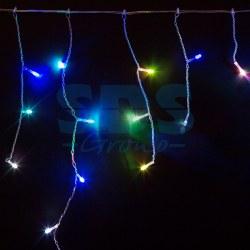 255-009 Гирлянда Айсикл (бахрома) светодиодный, 1, 8 х 0, 5 м, прозрачный провод, 230 В, диоды RGB