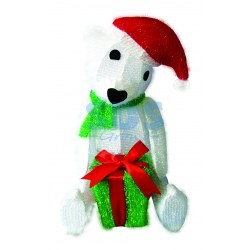 """514-268 Синтетическая 3D фигура """"Медвежонок с подарком """", 51 см, 36 светодиодов"""