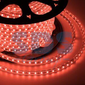 142-601 LED лента 220В, 10*7 мм, IP65, SMD 3528, 60 LED/m Красная, бухта 100 м
