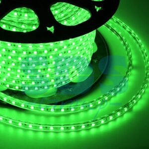 142-604 LED лента 220В, 10*7 мм, IP65, SMD 3528, 60 LED/m Зеленая, бухта 100 м