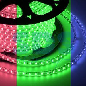 142-609 LED лента 220В, 10*7 мм, IP65, SMD 3528, 60 LED/m RGYB (МУЛЬТИ), бухта 100 м