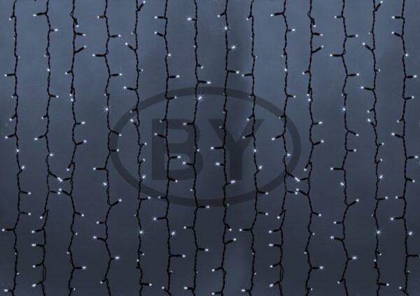 """237-185 Гирлянда """"Светодиодный Дождь"""" 2х9м, постоянное свечение, черный провод """"КАУЧУК"""", 230 В, диоды БЕЛЫЕ, 2200 LED"""