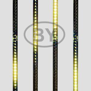 256-122 Сосулька светодиодная 50 см, 9,5V, двухсторонняя, 32х2 светодиодов, пластиковый корпус черного цвета, цвет светодиодов желтый