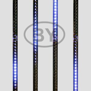 256-124 Сосулька светодиодная 50 см, 9,5V, двухсторонняя, 32х2 светодиодов, пластиковый корпус черного цвета, цвет светодиодов синий