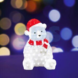 """513-240 Акриловая светодиодная фигура """"Медвежонок в красном колпаке"""" 56 см, 200 светодиодов, IP 44, понижающий трансформатор в комплекте"""