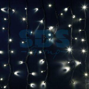 """255-295 Гирлянда Айсикл (бахрома) светодиодный, 6,0 х 1,5 м, черный провод """"КАУЧУК"""", 230 В, диоды белые, 240 LED"""
