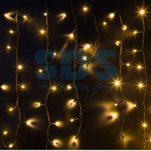 """255-296 Гирлянда Айсикл (бахрома) светодиодный, 6,0 х 1,5 м, черный провод """"КАУЧУК"""", 230 В, диоды ТЕПЛЫЙ БЕЛЫЙ, 480 LED"""