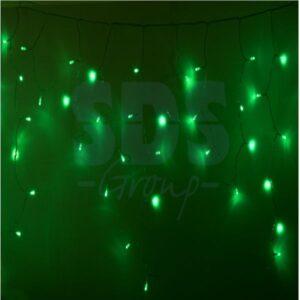 255-054 Гирлянда Айсикл (бахрома) светодиодный, 2,4 х 0,6 м, прозрачный провод, 230 В, диоды зелёные, 88 LED