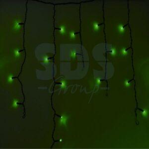 255-044 Гирлянда Айсикл (бахрома) светодиодный, 2,4 х 0,6 м, черный провод, 230 В, диоды зелёные, 88 LED