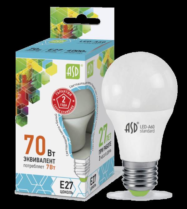 Лампа светодиодная LED-A60-standard 7Вт 220В Е27 600Лм