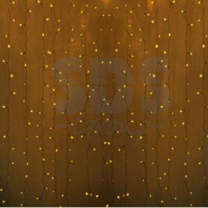 """235-101 Гирлянда """"Светодиодный Дождь"""" 2×0,8м, прозрачный провод, 230 В, диоды Желтые, 160 LED"""