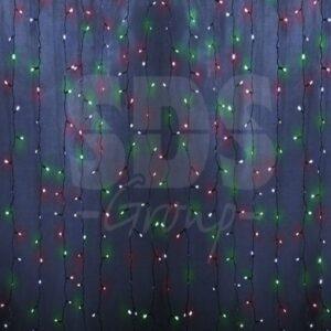"""235-309-6 Гирлянда """"Светодиодный Дождь"""" 2х1,5м, постоянное свечение, прозрачный провод, 230 В, диоды МУЛЬТИ, 192 LED"""