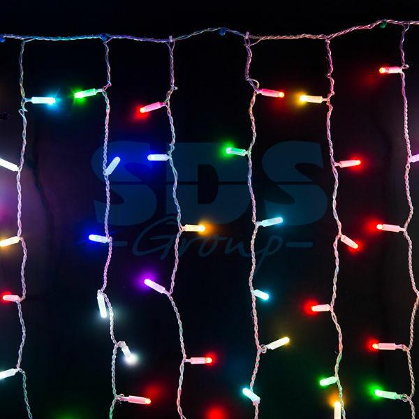 """245-319 Гирлянда """"Светодиодный Дождь"""" 2х3м, прозрачный провод, 230 В, диоды RGB, 600 LED свечение с динамикой при приобретении контроллера 245-907"""