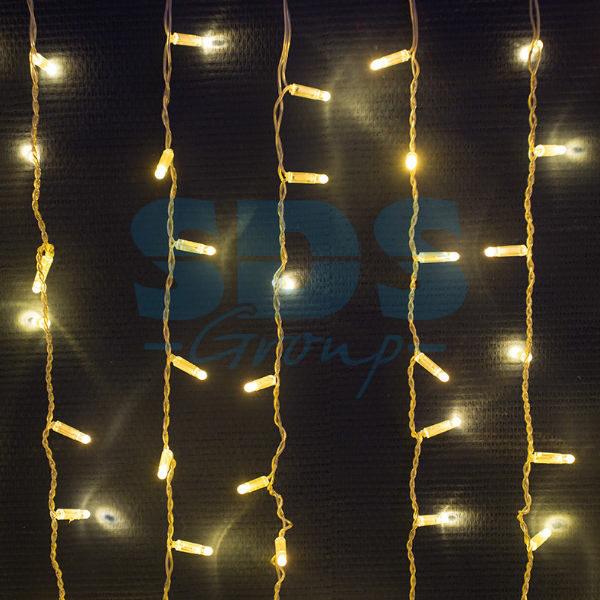 """235-158 Гирлянда """"Светодиодный Дождь"""" 2х3м, постоянное свечение, прозрачный провод, 230 В, цвет: Золото, 760 LED"""