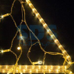 255-147 Гирлянда Айсикл (бахрома) светодиодный, 4,8 х 0,6 м, прозрачный провод, 230 В, цвет: Золото, 176 LED