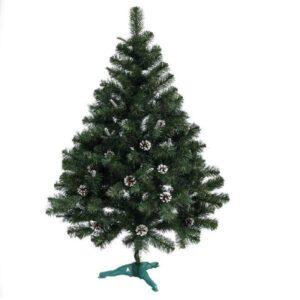Ель Классическая зеленая 1,5 метра декоративная с еловыми натуральными шишками с серебренными блестками