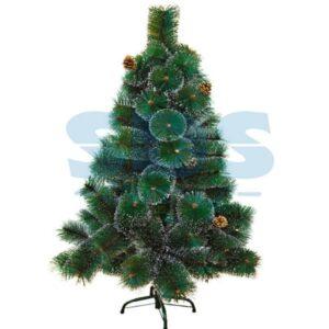 533-312 Новогодняя ель 120 см с 10 шишками и снегом, 90 веток, цвет зеленый
