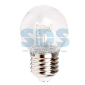 405-122 Лампа шар e27 6 LED Ø45мм – красная, прозрачная колба, эффект лампы накаливания