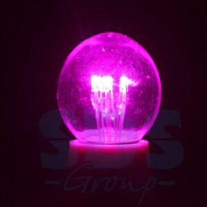 405-127 Лампа шар e27 6 LED Ø45мм – розовая, прозрачная колба, эффект лампы накаливания