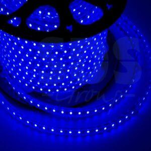 142-603 LED лента 220В, 10*7 мм, IP65, SMD 3528, 60 LED/m Синяя, бухта 100 м