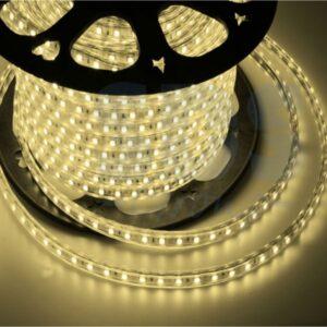142-606 LED лента 220В, 10*7 мм, IP65, SMD 3528, 60 LED/m Тепло-белая, бухта 100 м