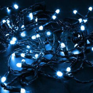 305-143 Гирлянда Нить 10м, постоянное свечение, черный ПВХ, 24В, цвет: Синий