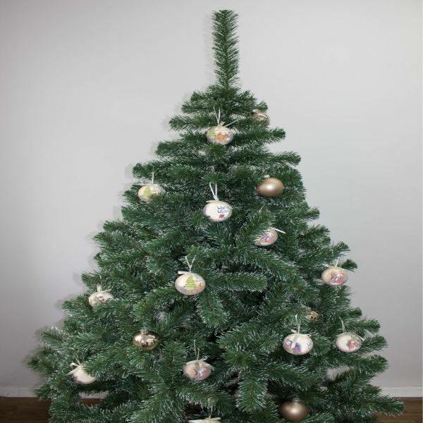 Ель Классическая зеленая 1,5 метра декоративная с еловыми натуральными шишками с золотыми блестками