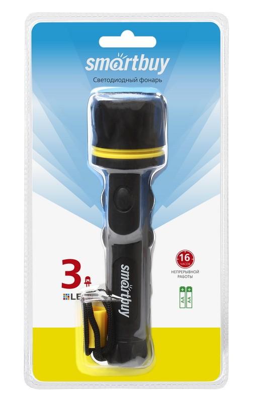 Светодиодный резиновый фонарь 3 LED Smartbuy 2АА, черный