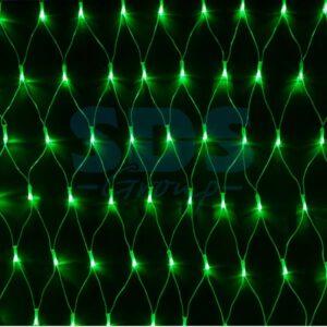 """215-044 Гирлянда """"Сеть"""" 2х1,5м, свечение с динамикой, прозрачный ПВХ, 288 LED, 230 В, цвет: Зелёный"""