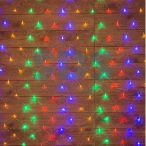 "215-119-6 Гирлянда ""Сеть"" 1х1, 5м, прозрачный ПВХ, 96 LED Мультиколор"