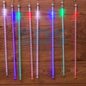 """256-319-6 Гирлянда """"Тающие сосульки"""" светодиодная, 8шт х 50см, шаг 40см, 24 В (с трансформатором) мульти светодиоды"""