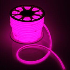 Гибкий неон круглый, D=16 мм, 50 м, LED/м-120-SMD2835-220V, РОЗОВЫЙ