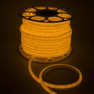 Гибкий неон круглый, D=10 мм, 50 м, LED/м-120-SMD2835-220V, ЖЕЛТЫЙ