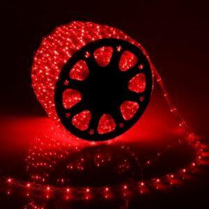 LED шнур 11х18 мм, квадратн, 100 м, чейзинг, 3W-LED/м-36-220V в компл. набор д/подкл. Красн.
