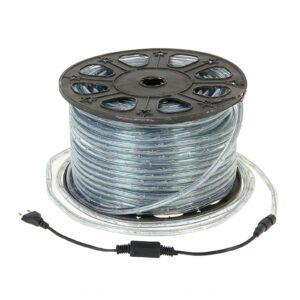 LED шнур 11 мм, круглый, 100 м, фиксинг, 2W-LED/м-24-220V, в компл. набор д/подкл. Желтый