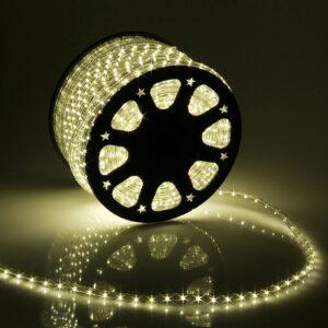 LED шнур 13 мм, круглый, 100 м, фиксинг, 2W-LED/м-36-220V в компл. набор д/подкл. Тепл. Бел.